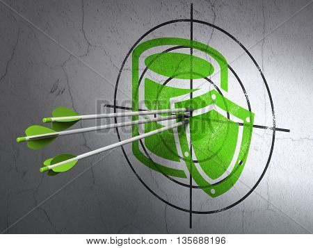 Success Programming concept: arrows hitting the center of Green Database With Shield target on wall background, 3D rendering