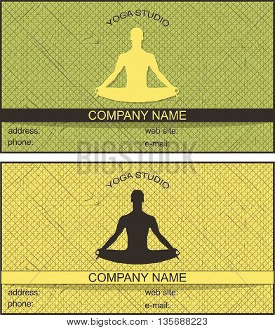 business card with a picture of a man in the lotus position in two colors with stripes. yoga studio.