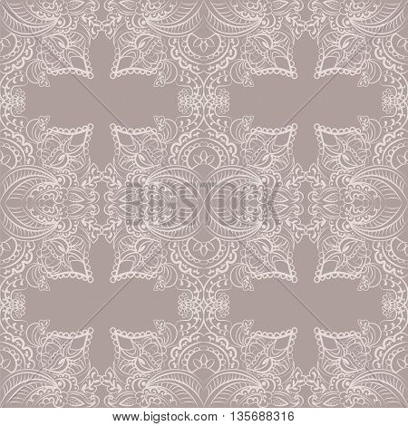 Vector classic decor pattern element in Eastern Style. Ornamental lace pattern for wedding invitations and greeting cards backgrounds fabrics textile. Taupe color