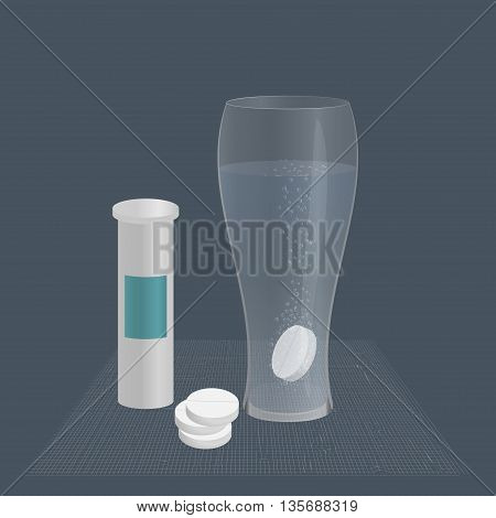 effervescent tablet in a glass of water, and packaging the tablets on the table