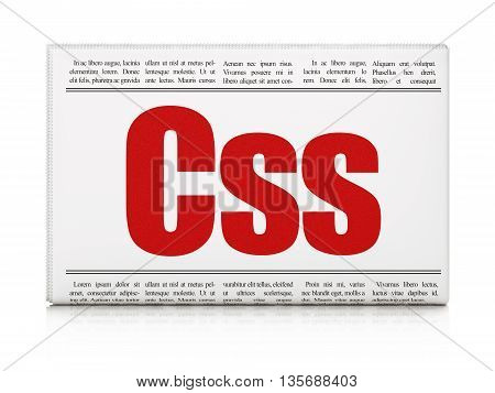Database concept: newspaper headline Css on White background, 3D rendering