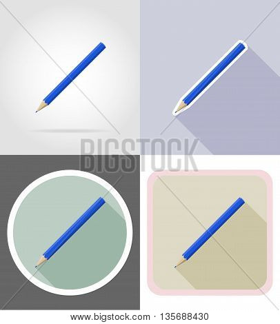 pencil stationery equipment set flat icons vector illustration isolated on white background