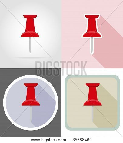 pin stationery equipment set flat icons vector illustration isolated on white background