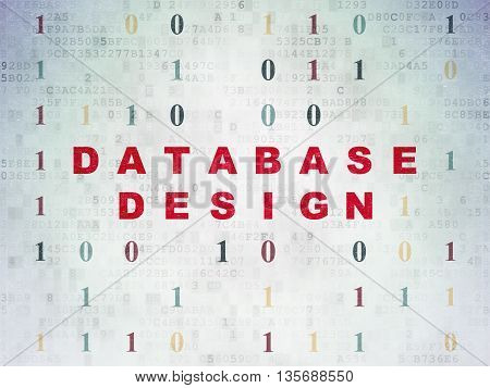 Software concept: Painted red text Database Design on Digital Data Paper background with Binary Code