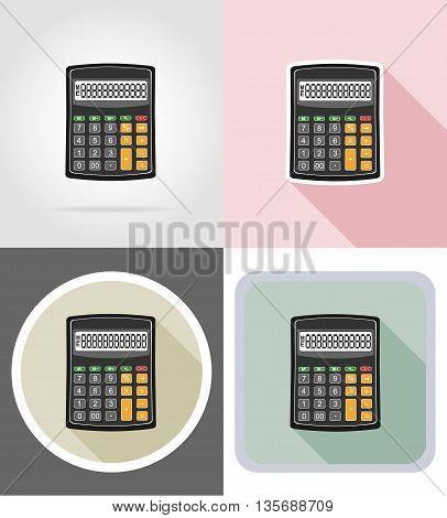 calculator stationery equipment set flat icons vector illustration isolated on white background