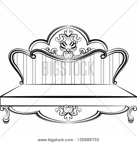 Royal Sofa in Rococo style with damask luxurious ornaments. Vector