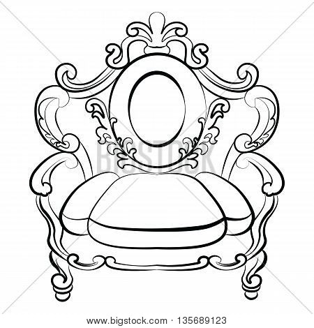 Royal Armchair set in Baroque Rococo style with damask luxurious ornaments. Vector