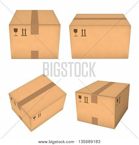 Closed cardboard boxes set. Four different views. Isolated on white background. Retail logistics delivery storage concept. 3D illustration