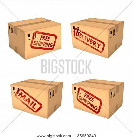 Shipping boxes set. Free shipping. Mail and delivery labels. Closed cardboard boxes. Isolated on white background. Retail logistics delivery and storage concept. 3D illustration.