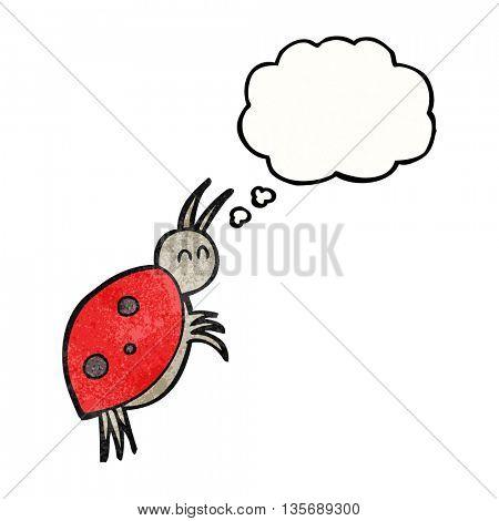 freehand drawn thought bubble textured cartoon ladybug