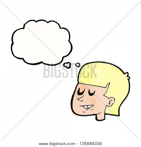 freehand drawn thought bubble textured cartoon man biting lip