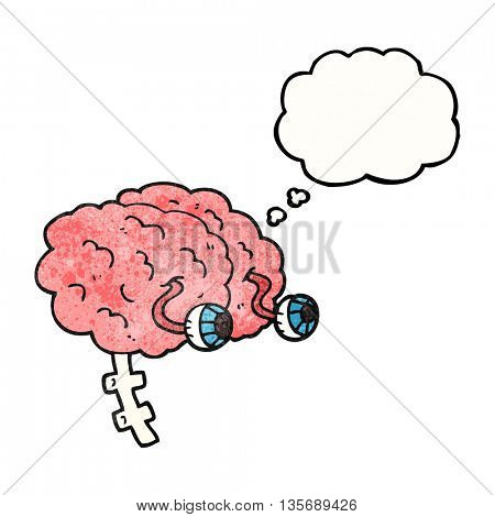 freehand drawn thought bubble textured cartoon brain