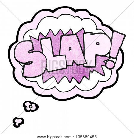 freehand drawn thought bubble textured cartoon slap symbol