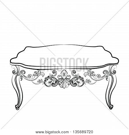 Royal table in Baroque Rococo Baroque style with damask luxurious ornaments. Vector