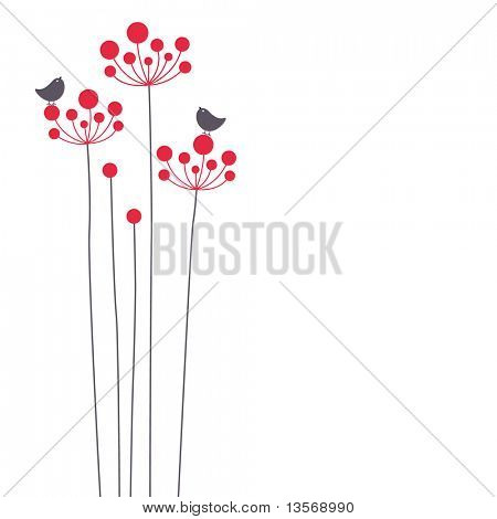 vector bird and flower background