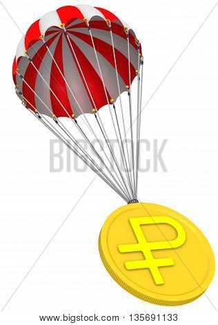 Gold coin with the symbol of the Russian ruble is falling down on parachute. Isolated. 3D Illustration