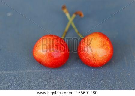 Fruit food concept. Fresh cherries on wood