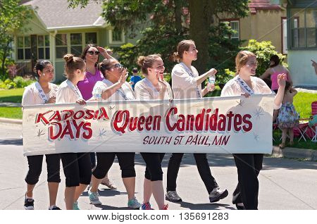 WEST ST. PAUL, MINNESOTA - MAY 21, 2016: Queen candidates for Miss South Saint Paul of Kaposia Days annual festival march at Grande Parade in West St. Paul on May 21.