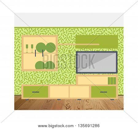 Vector illustration of living room interior design. Furniture arrangement Wallpaper in modern style wooden floor