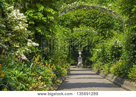 A view inside the beautiful St. Johns Lodge Garden in Regents Park London.