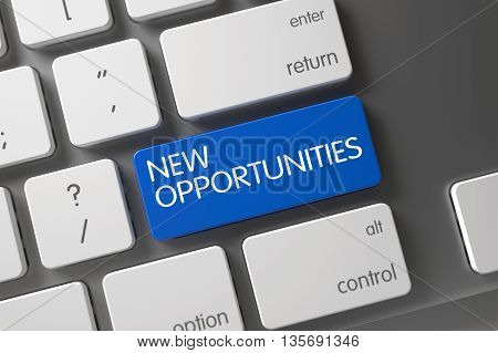 New Opportunities Concept Modern Keyboard with New Opportunities on Blue Enter Key Background, Selected Focus. New Opportunities Key on Modern Laptop Keyboard. 3D Render.