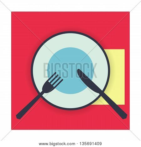 provide etiquette not finished on white background flat. Knives and forks on a plate. Vector illustration.