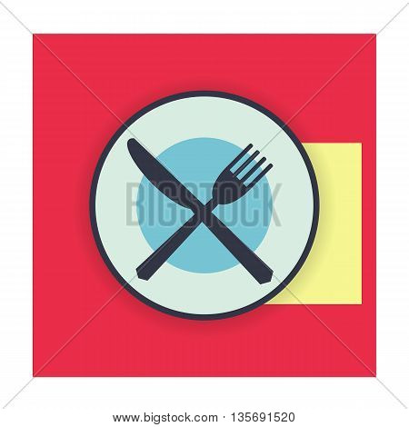 provide etiquette finished eat on white background flat. Knives and forks on a plate. Vector illustration.