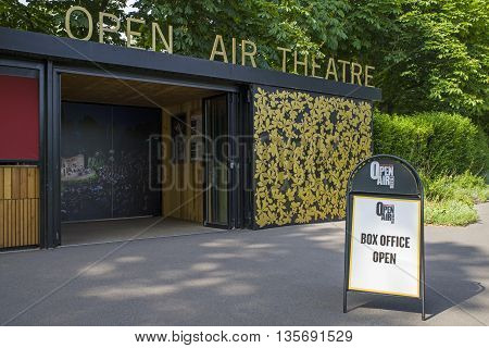 LONDON UK - JUNE 6TH 2016: The entrance to the Open Air Theatre in Regents Park London on 6th June 2016.