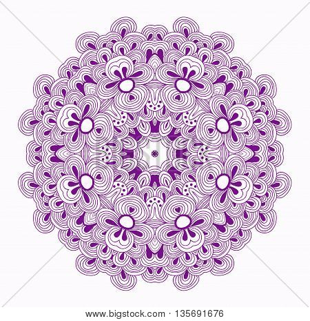 Symmetrical raster pattern in violet color. Kaleidoscopic design