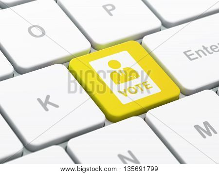 Political concept: computer keyboard with Ballot icon on enter button background, selected focus, 3D rendering