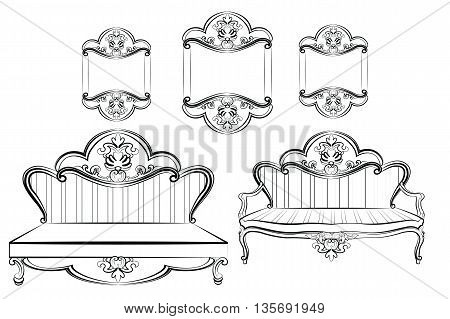 Royal Sofa and Frames set in Baroque Rococo style with damask luxurious ornaments. Vector