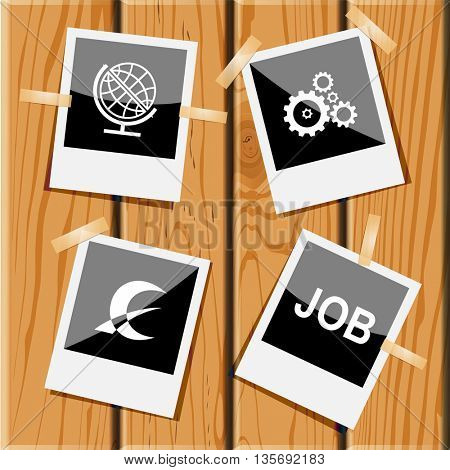 Business set. Photo frames on wooden desk. Vector icons.