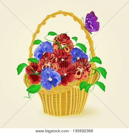 Pansies spring flowers in a basket with butterfly vector illustration