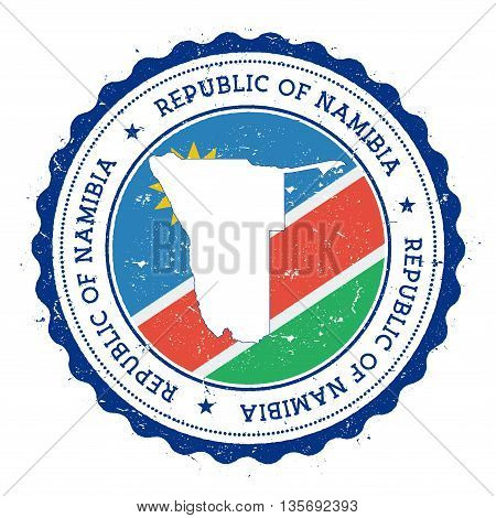 Namibia Map And Flag In Vintage Rubber Stamp Of State Colours. Grungy Travel Stamp With Map And Flag