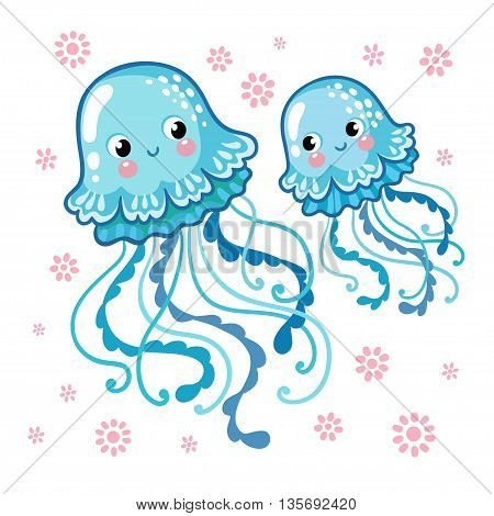 Couple smiling jellyfish floating in the sea. Vector illustration of jellyfishes on a background of pink flowers.