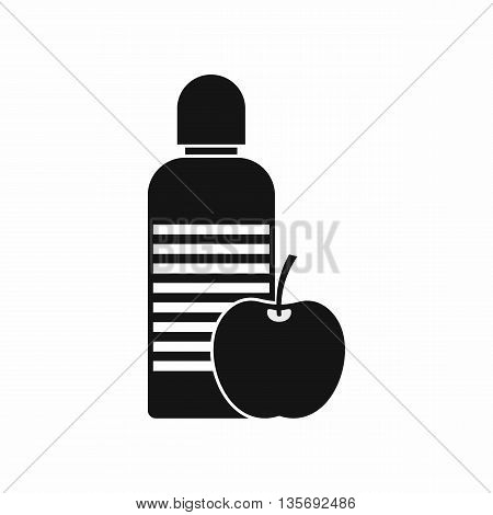 Bottle of water and apple icon in simple style isolated on white background