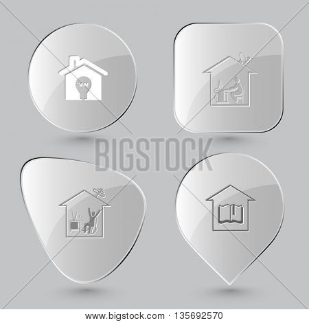 Home set. Glass buttons on gray background. Vector icons.