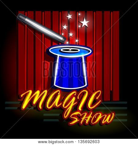 easy to edit vector illustration of Neon Light signboard for Magic Show