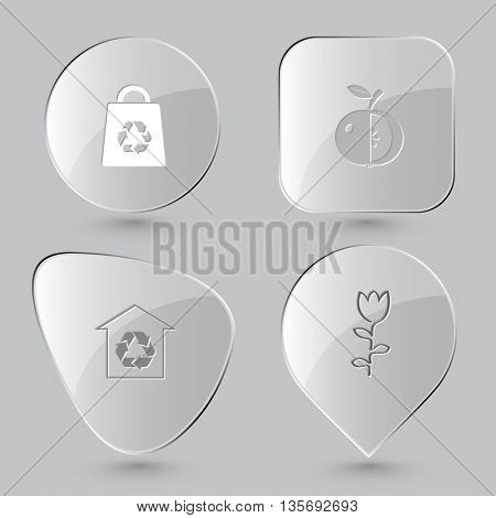 Nature set. Glass buttons on gray background. Vector icons.