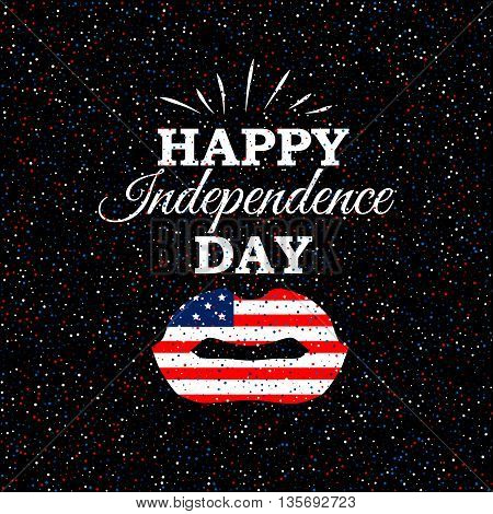 Happy Independence Day poster with USA flag lips on scatter circles background.