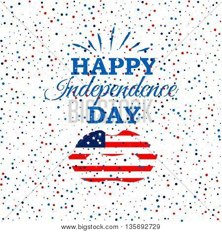 Happy Independence Day poster with American flag lips on scatter circles background.