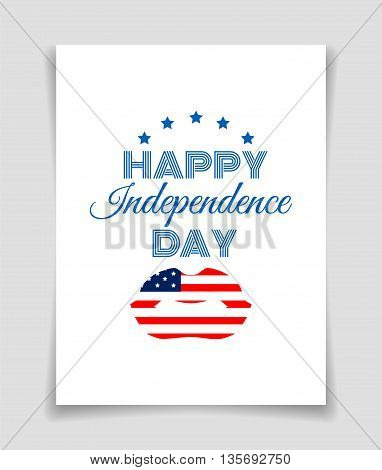 Happy Independence Day greeting card with US flag lips on white background.