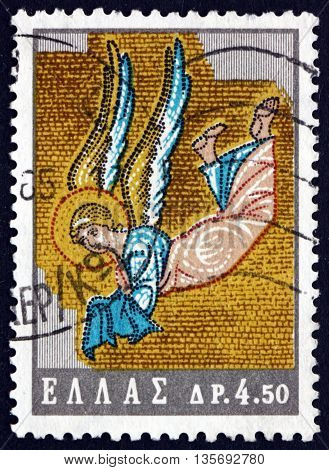 GREECE - CIRCA 1964: a stamp printed in the Greece shows Angel Mosaic Daphni Church Athens Byzantine Art and for the Byzantine Art Exhibition circa 1964