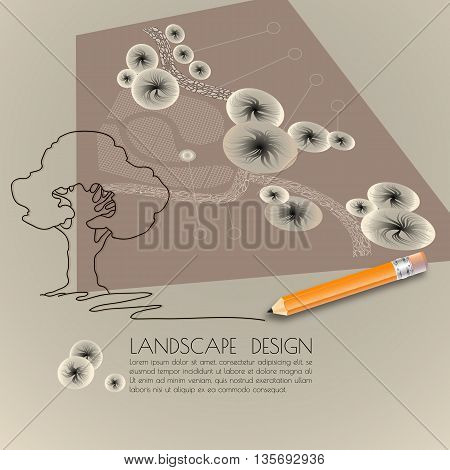 Vector illustration of  silhouette tree, garden plan with tree symbols, pencil and words Landscape design on grey background.