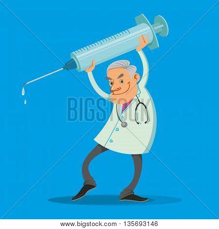 Happy doctor holding big syringe on blue background