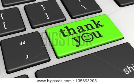 Thank you sign and word with happy emoticon symbol on a green computer key 3D illustration.