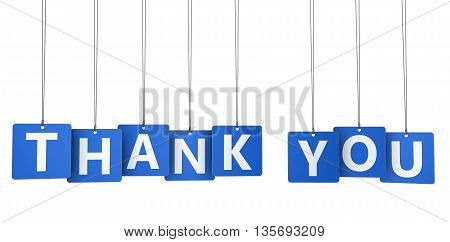 Thank you sign and word on blue paper tags for thanks giving message 3d illustration isolated on white.