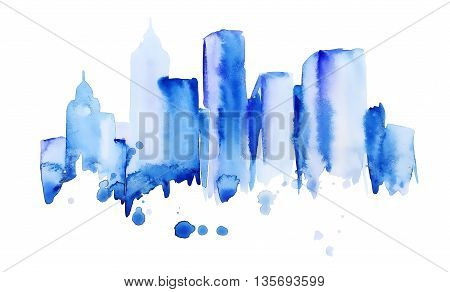 silhouette of the city of new York watercolor hand-drawn in blue tones painted with splashes of watercolor drops