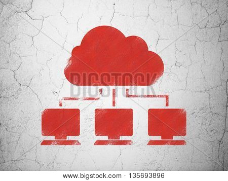 Cloud computing concept: Red Cloud Network on textured concrete wall background