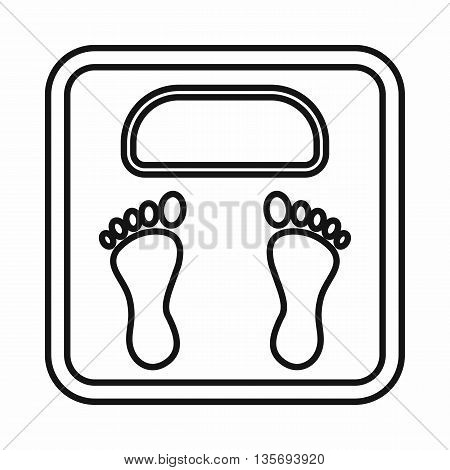 Weight scale icon in outline style isolated on white background